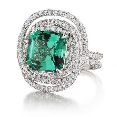 18kt White Gold Mint Green Tourmaline and Diamond Ring - Paolo Costagli