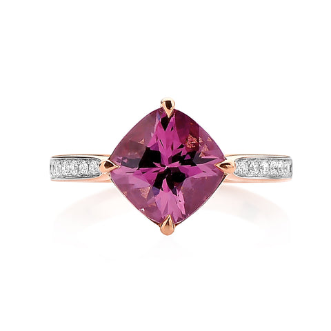 18kt Gold Rhodolite Pink Garnet Ring with Diamonds - Paolo Costagli