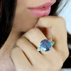 Blue Spinel and Lagoon Tourmaline Ring - Paolo Costagli