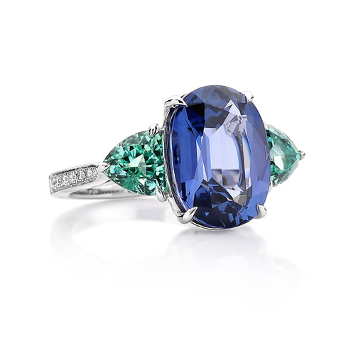 Blue Spinel and Green Tourmaline Ring - Paolo Costagli