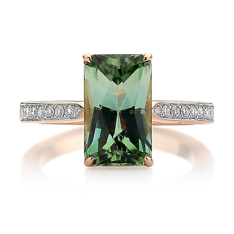18kt Rose Gold Green Tourmaline and Diamond Ring - Paolo Costagli