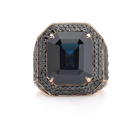 18kt Rose Gold Black Spinel and Black Diamond Ring - Paolo Costagli