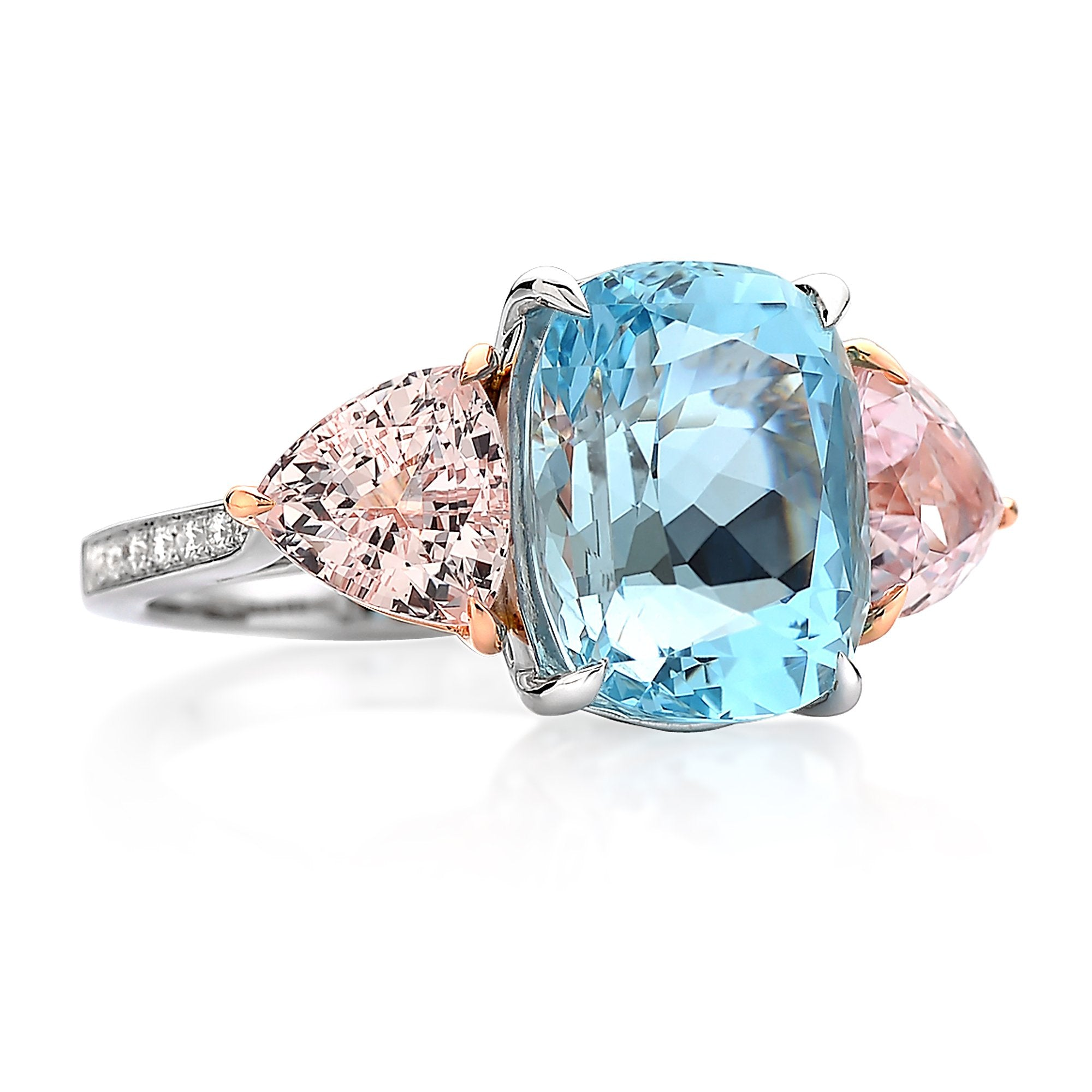 18kt Gold Aquamarine, Morganite and Diamond Ring - Paolo Costagli