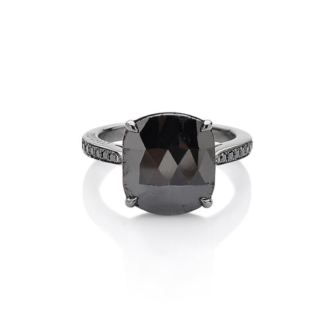Cushion Black Diamond Solitaire Ring - Paolo Costagli