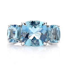 18kt Gold Aquamarine Three Stone Ring - Paolo Costagli