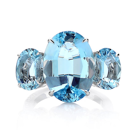 18kt Gold Aquamarine Oval Three Stone Ring - Paolo Costagli