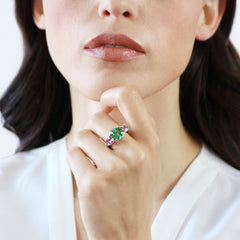 18kt Gold Green and Pink Tourmaline Ring - Paolo Costagli