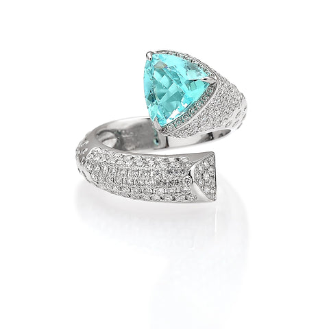 18kt Gold Paraiba-Type and Diamond Ring - Paolo Costagli