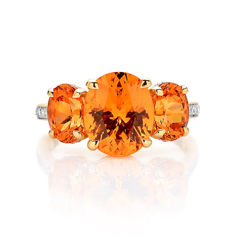 18kt Gold Mandarin Garnet Ring with Diamonds - Paolo Costagli