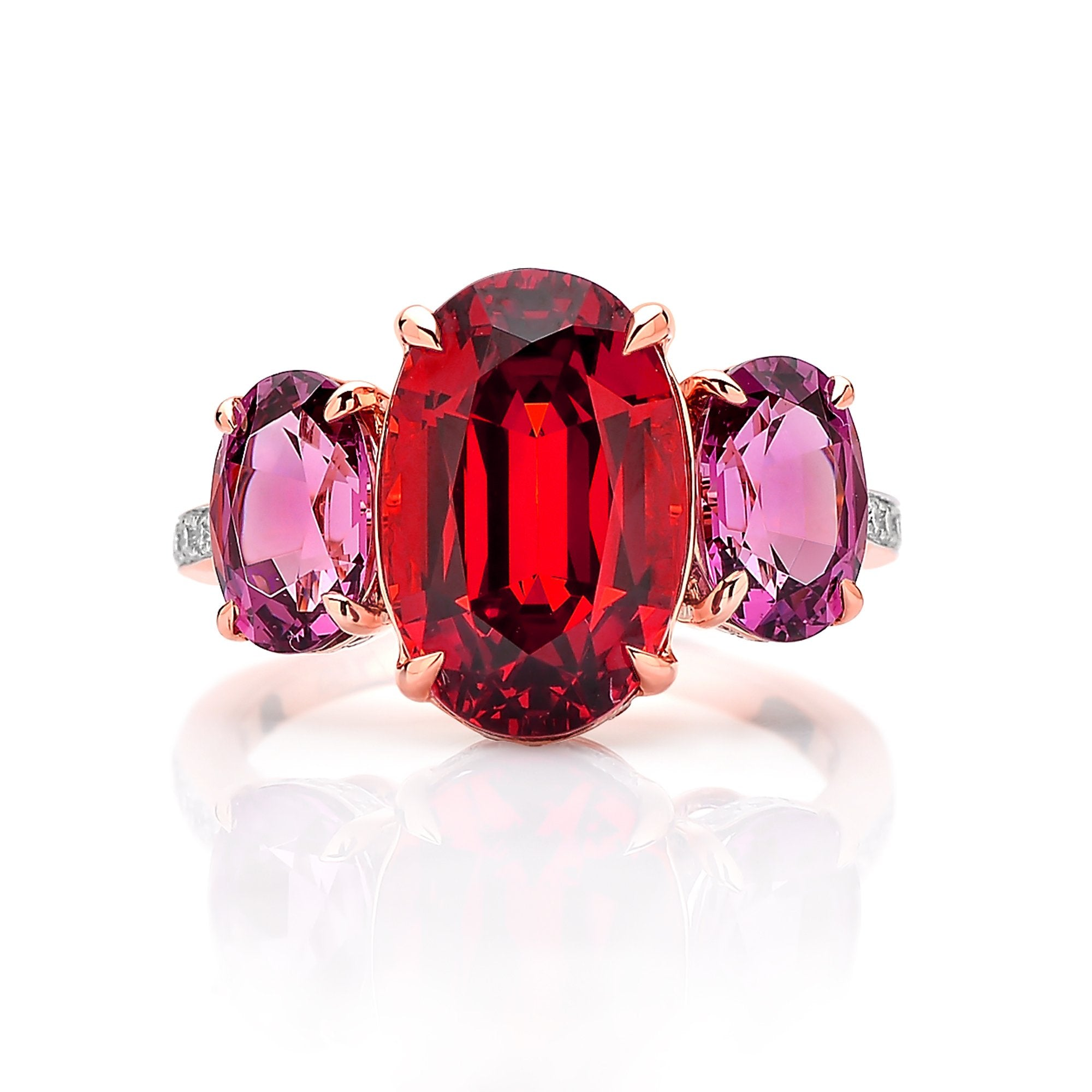 18kt Gold Mandarin and Rhodolite Garnet Ring with Diamonds - Paolo Costagli