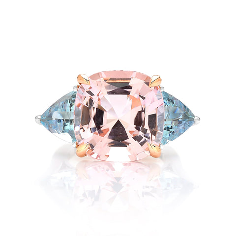 18kt Gold Morganite and Aquamarine Ring with Diamonds - Paolo Costagli