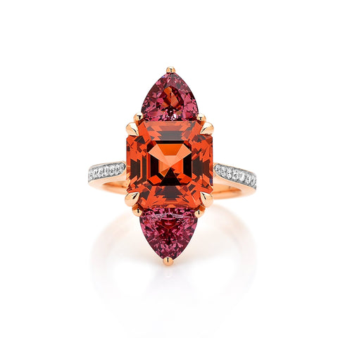 18kt Gold Malaya Garnet Ring with Diamonds - Paolo Costagli