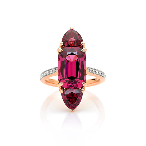 18kt Gold Rhodolite Garnet Ring with Diamonds - Paolo Costagli