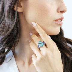 18kt Gold Aquamarine, Tanzanite and Diamond Ring - Paolo Costagli