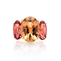 18kt Gold Champagne and Pink Tourmaline Ring with Diamonds - Paolo Costagli