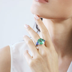 18kt Gold Mint Tourmaline, Tanzanite, and Diamond Ring - Paolo Costagli