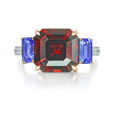 Rhodolite Garnet and Tanzanite Ring
