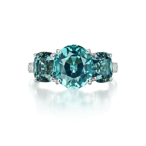 Indicolite Tourmaline and Steel Spinel Ring - Paolo Costagli