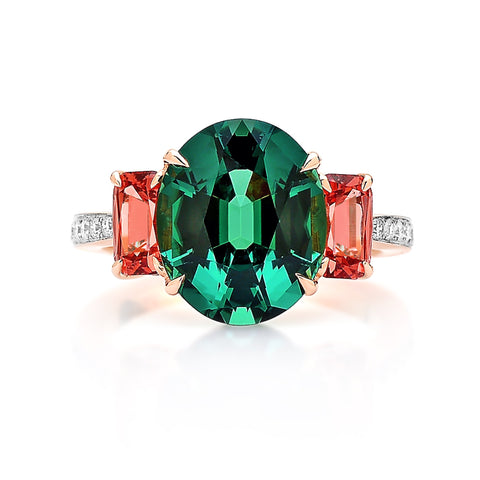 Green Tourmaline and Malaya Garnet Ring