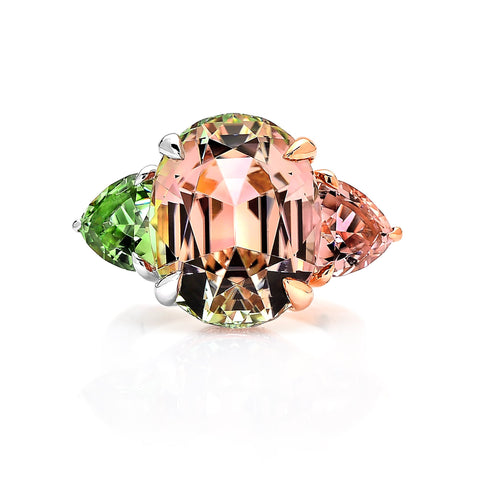 Watermelon Tourmaline Ring with Diamonds - Paolo Costagli