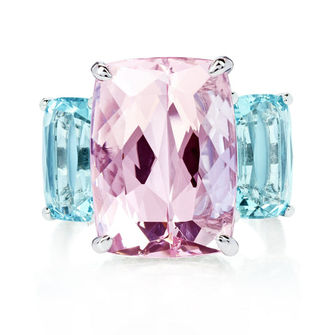 Morganite and Aquamarine Ring with Diamonds