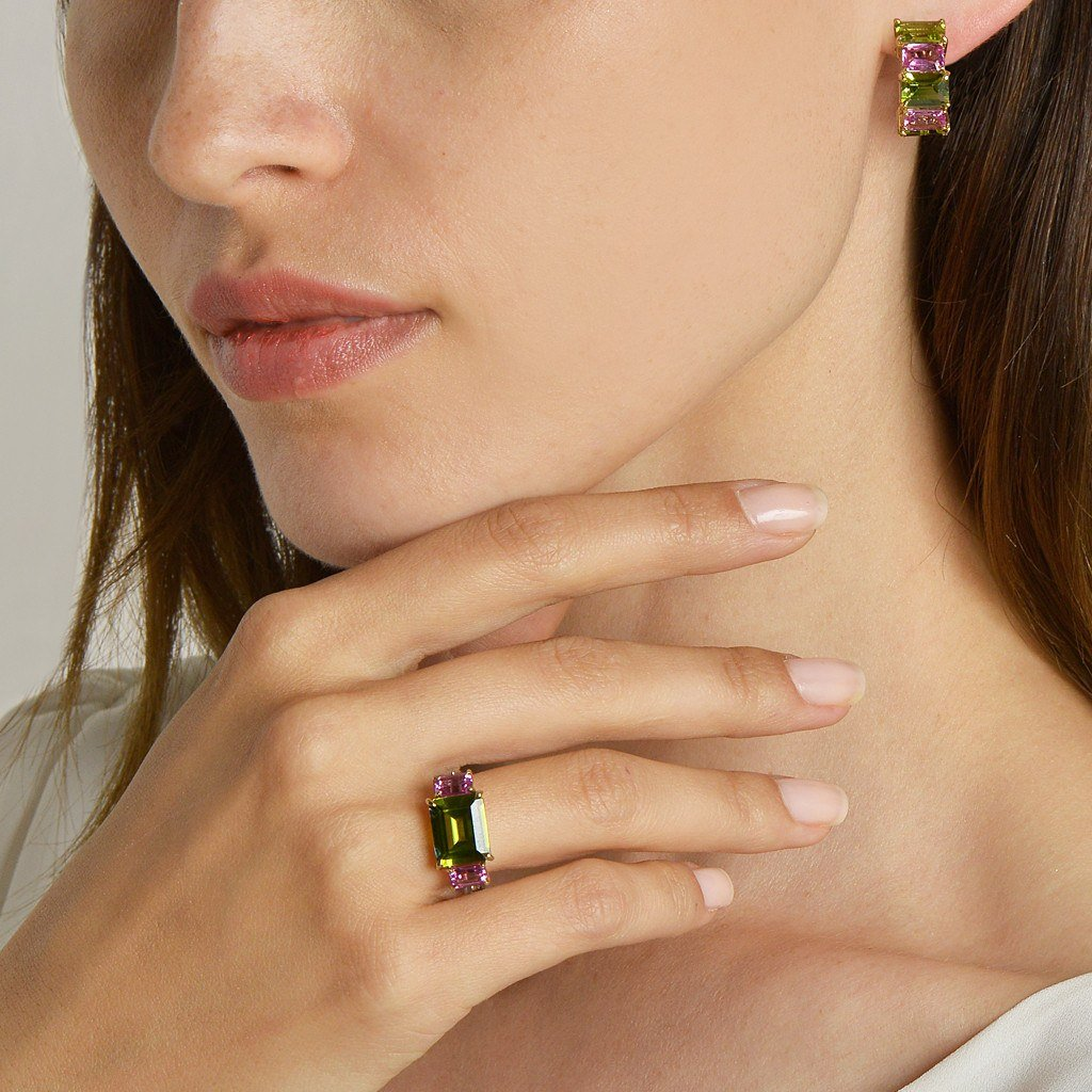 Peridot and Pink Sapphire 'Florentine' Huggie Earrings - Paolo Costagli - 2