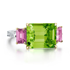 Peridot and Pink Sapphire Florentine Ring - Paolo Costagli