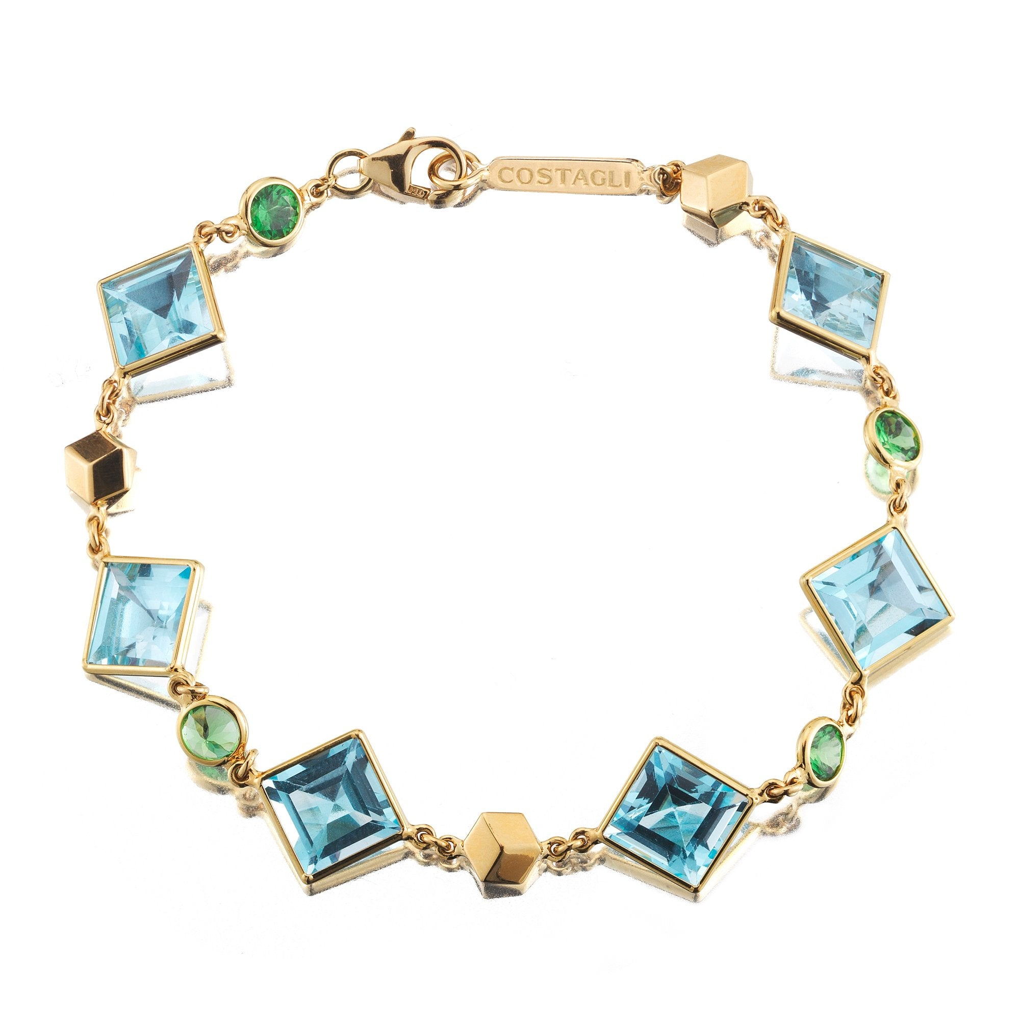 18kt Yellow Gold Blue Topaz And Tsavorite Florentine Bracelet - Paolo Costagli