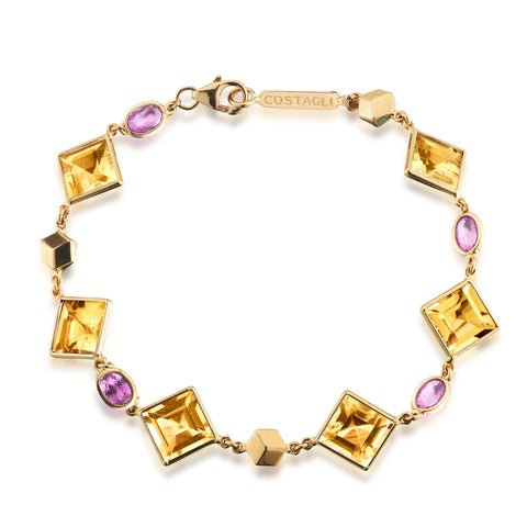 Citrine and Pink Sapphire Florentine Bracelet - Paolo Costagli