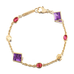 18kt Yellow Gold Amethyst And Ruby Florentine Station Bracelet - Paolo Costagli