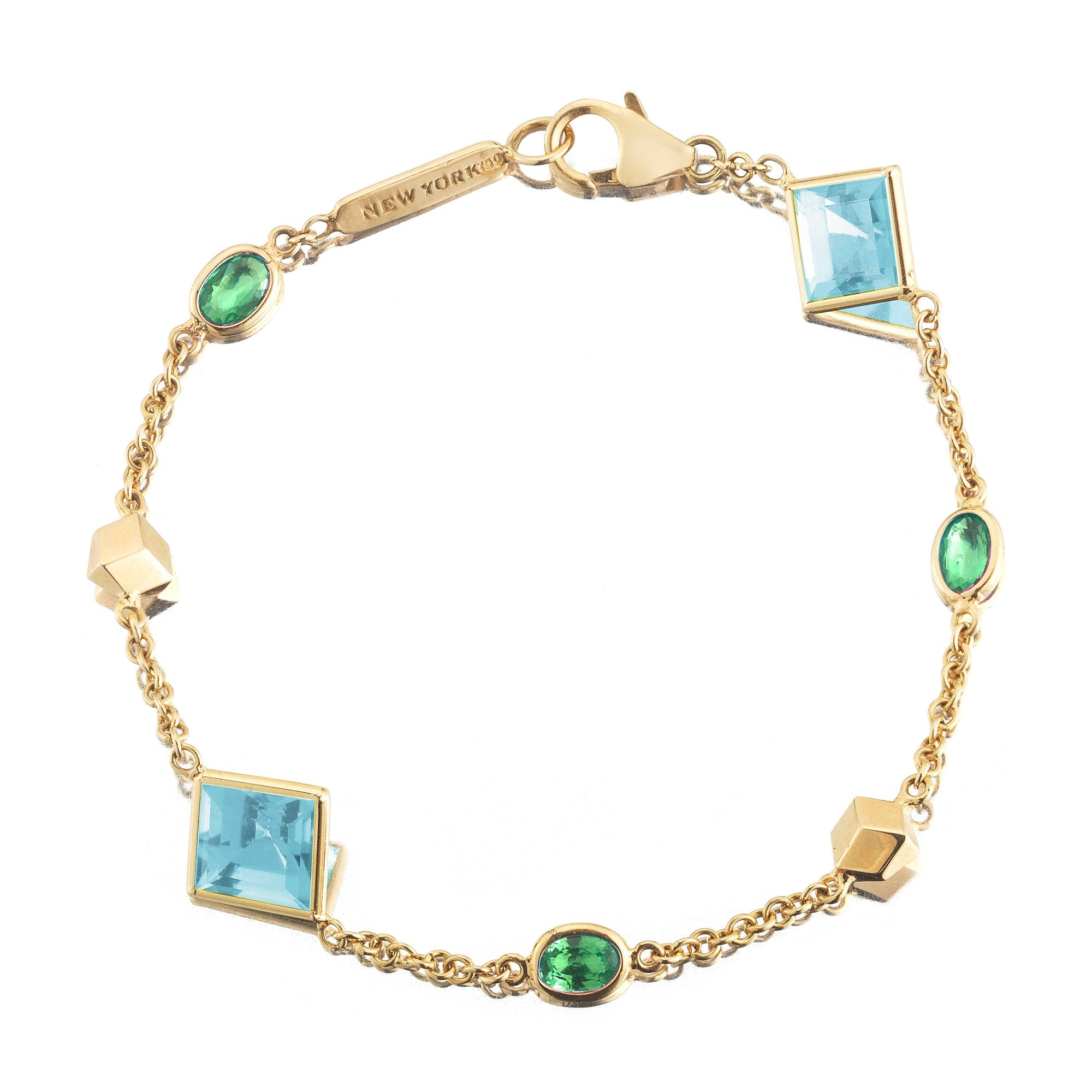 Blue Topaz and Tsavorite 'Florentine' Station Bracelet - Paolo Costagli