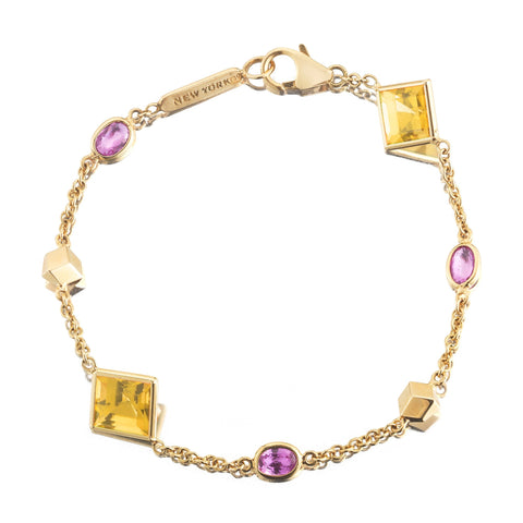 Citrine and Pink Sapphire 'Florentine' Station Bracelet - Paolo Costagli - 1