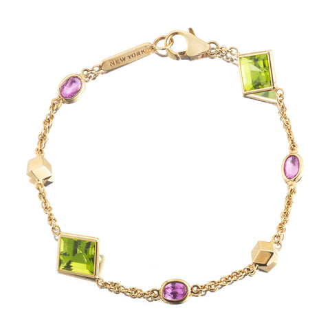 Peridot and Pink Sapphire 'Florentine' Station Bracelet - Paolo Costagli - 1