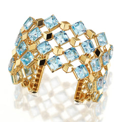 18kt Rose Gold Blue Topaz Very PC Cuff - Paolo Costagli