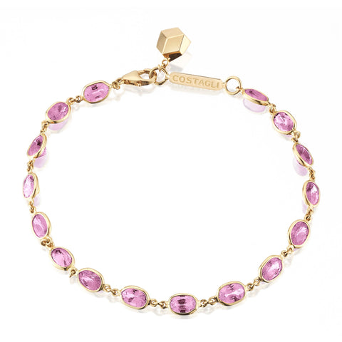 18kt Yellow Gold Oval Pink Sapphire Ombre Bracelet - Paolo Costagli