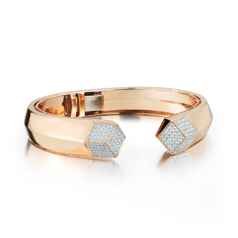 Rose Gold and Diamond Brillante® Hinged Cuff - Paolo Costagli