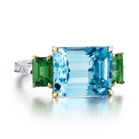 Blue Topaz and Tourmaline Florentine Ring - Paolo Costagli