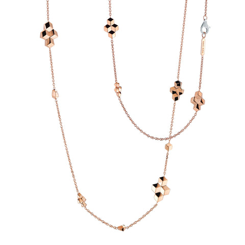 18kt Rose Gold Unique Sautoir Necklace with Diamond Clasp - Paolo Costagli