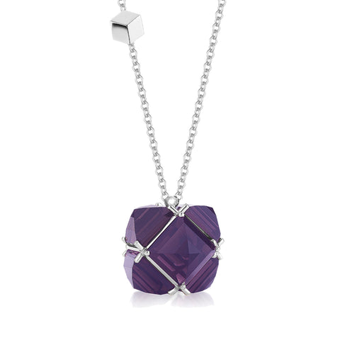 18kt White Gold and Amethyst Very PC Pendant Necklace, Grande - Paolo Costagli