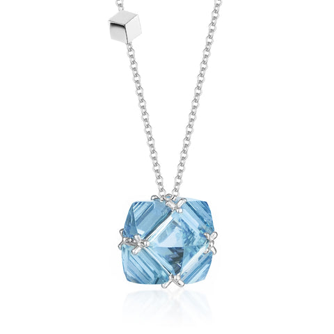 18kt White Gold and Blue Topaz Very PC Pendant Necklace, Grande