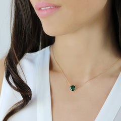 18kt Gold Hexagonal Green Tourmaline Pendant Necklace - Paolo Costagli