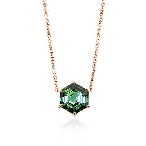 18kt Rose Gold Hexagonal Green Tourmaline Pendant Necklace - Paolo Costagli