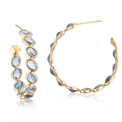 blue sapphire ombre round hoops earrings