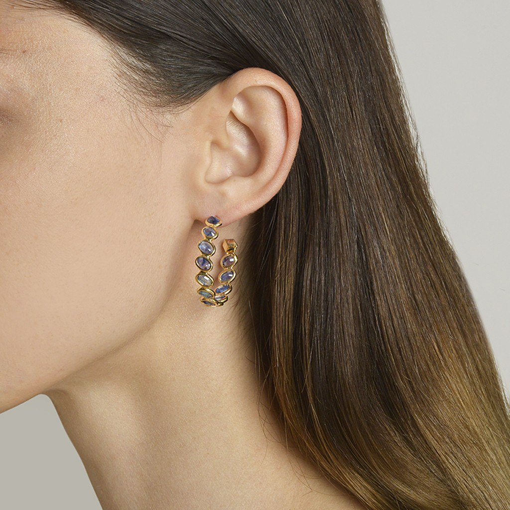 Blue Sapphire 'Ombre' Hoop Earrings, Medium - Paolo Costagli - 2