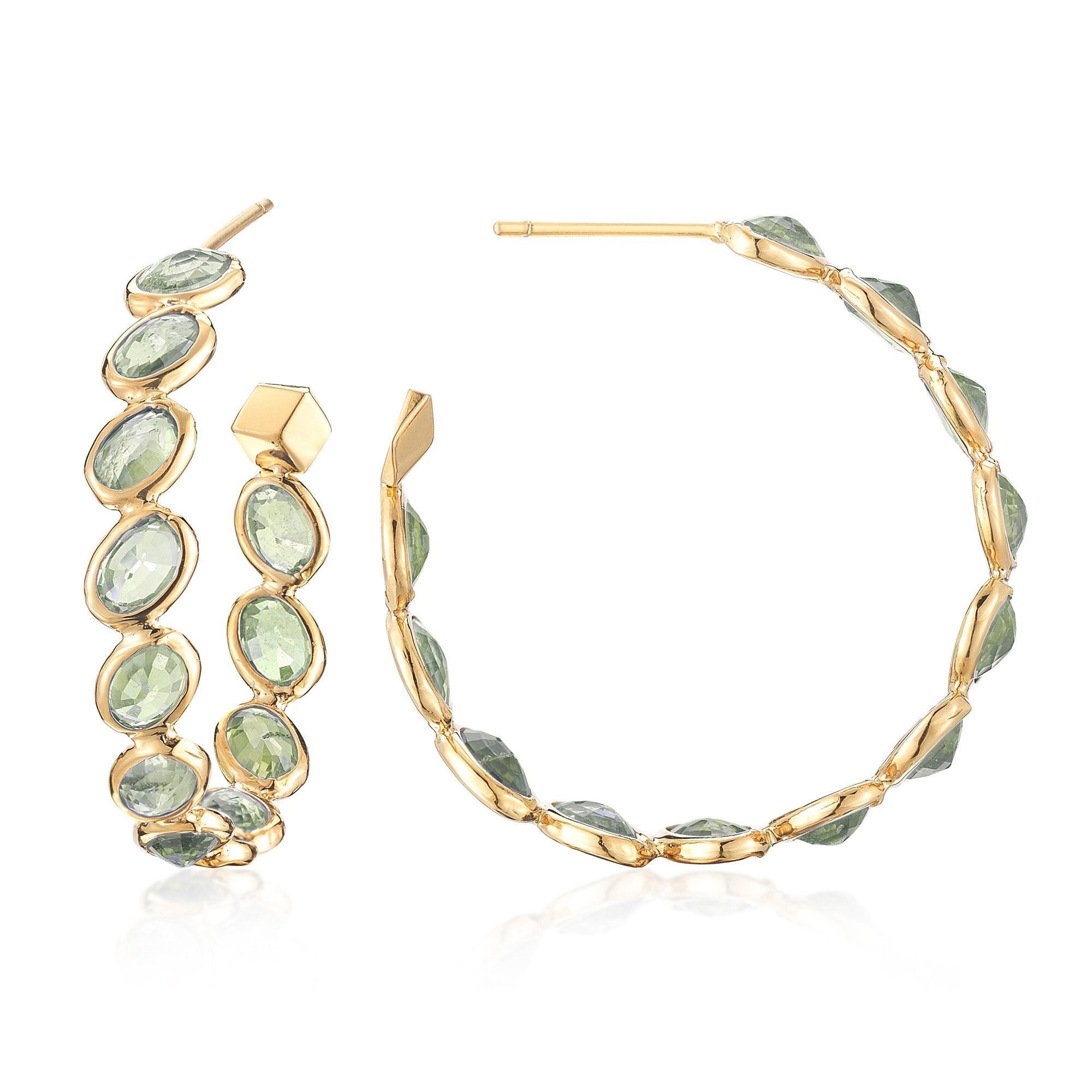 Green Sapphire 'Ombre' Hoop Earrings, Medium - Paolo Costagli - 1