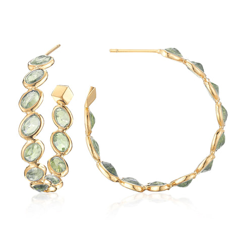 18kt Yellow Gold Green Sapphire Ombre Hoop Earrings, Medium - Paolo Costagli