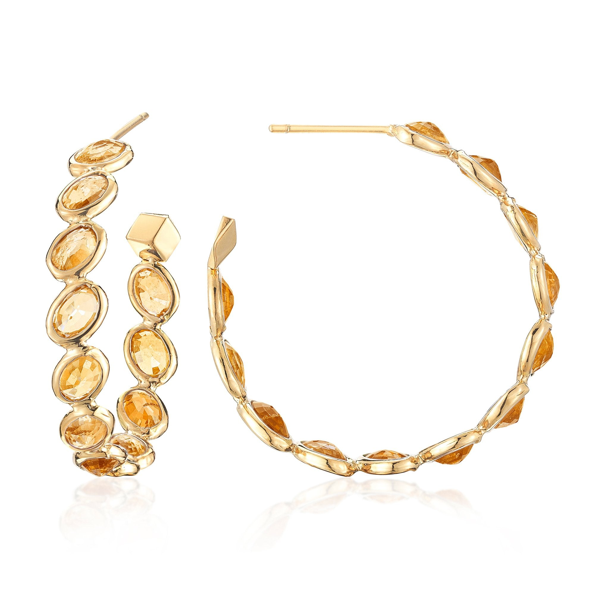 Orange Sapphire 'Ombre' Hoop Earrings, Medium - Paolo Costagli - 1