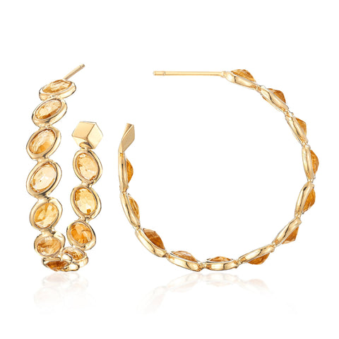 18kt Yellow Gold Orange Sapphire Ombre Hoop Earrings, Medium - Paolo Costagli