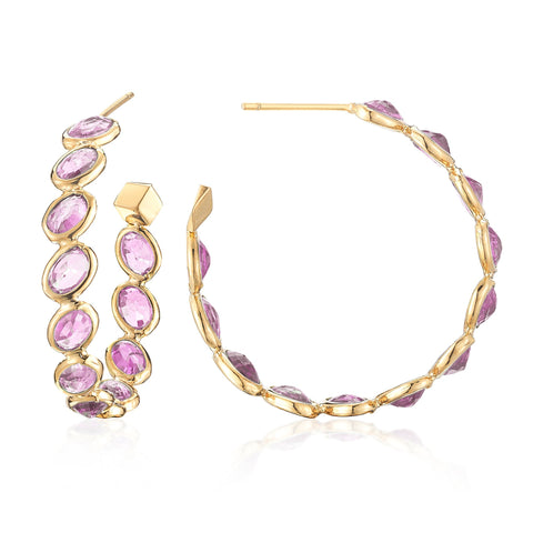 18kt Yellow Gold Pink Sapphire Ombre Hoop Earrings, Medium - Paolo Costagli