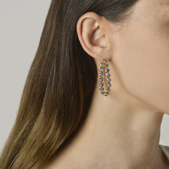 18kt Yellow Gold Blue Sapphire Ombre Hoop Earrings, Grande - Paolo Costagli